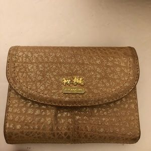 Coach Madison Gold Metallic Leather Maggie Wallet